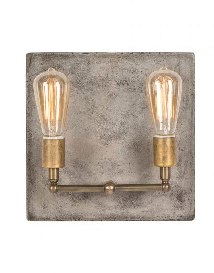 The Cameron Double Wall Light is a concrete square wall light featuring two large squirrel cage bulbs with aged brass detailing.