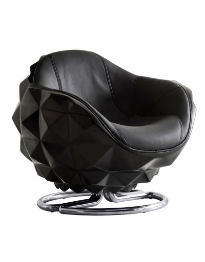 The Atom Chair is a futuristic take on a deep sea marine mine, transformed into a relaxing swivel chair. Made from black lacquer.