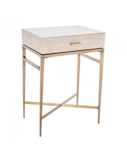 The Esta SharGreen 1 Drawer side table is a beautiful addition to any design setting. It is finished off in a biscuit shagreen.
