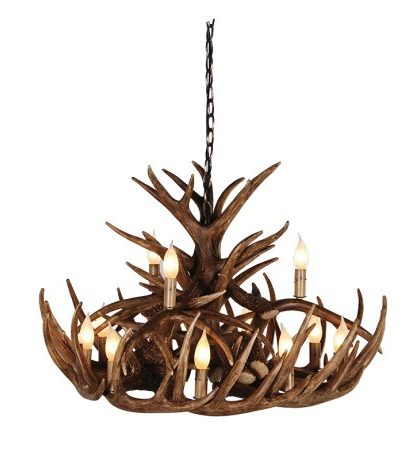Large 2 Tier Antler Chandelier. Height including chain: 1400mm. Dimensions : H: 500mm Dia: 800mm