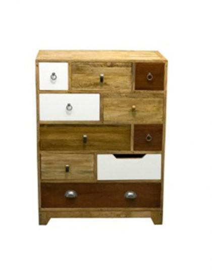 Vintage Mixed 10 Drawer Tall Chest drawer fronts and quirky drawer handles give this 10 drawer chest vintage appeal. Dimensions: H:108 x W: 80 x D: 38cm