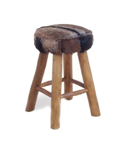 The Kampala Medium Bar Stool features genuine hide seat upholstery with thick, chunky teak timber legs. Comfortable, sturdy and portable.