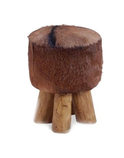 The Kampala Round Stool is a unique and stylish stool is made from Cowhide and wood and is perfect for those winter settings.
