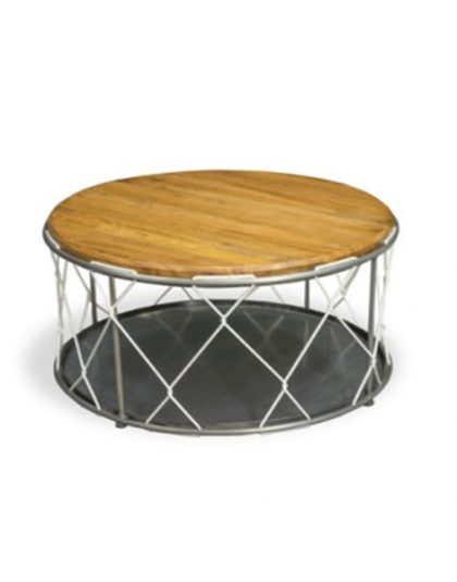 A Re-Engineered Round Rope Table. The top is supported on metal rods and the design is finished with white rope cross-crossing from base to top.