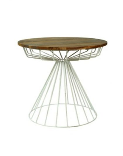 Re-Engineered Birdcage Side table this piece has been constructed using solid reclaimed mango wood and a rustic steel frame.