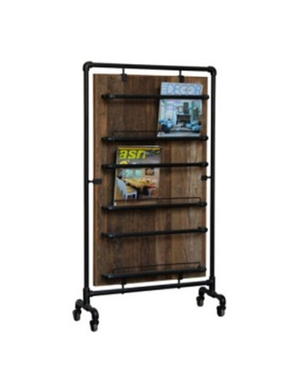 This Tall Magazine Rack is a place to store magazines and kitchen utensils as well as acting as a room divider. Dimensions: W: 74cm, H: 130cm, D: 28cm.