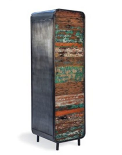 Retro Tall Cabinet hand-crafted using 100% Reclaimed Wood from dismantled boat wrecks that sailed the Strait of Malaccc. H: 1900 W:550 D:550
