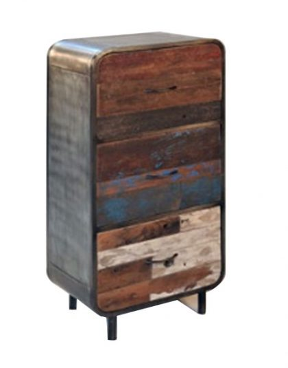Retro Dresser 3 Drawer Made of reclaimed timber and steel structuring, giving that rustic effect to your bedroom. Dimensions: H: 90cm, W: 60cm, D: 45cm