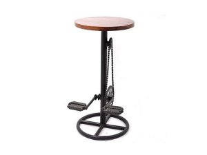 Bicycle Stool With Wooden Seat has real cycle pedals and chain. It's a Premium quality Industrial Cycle Stool with a Fun and funky steampunk seat.