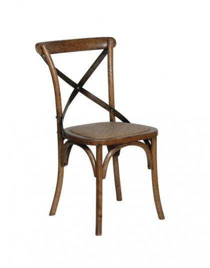 Dark Oak Dining Chair Steel X-Back