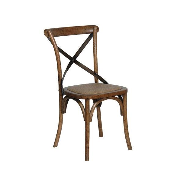 Dark Oak Dining Chair Steel X-Back