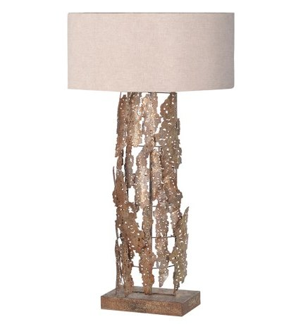 Gold Lamp W/Beige Shade. Dimensions: H: 880mm Dia: 500mm