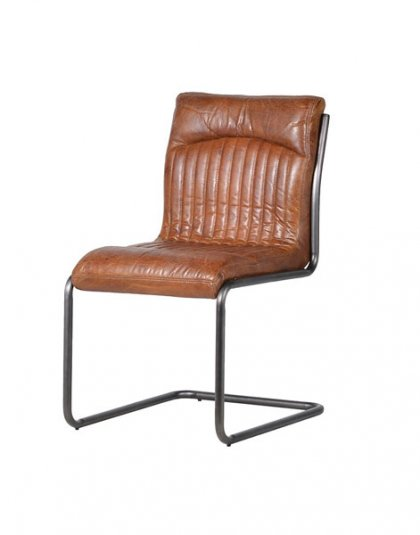 Vintage Brown Leather Metal Leg Chair