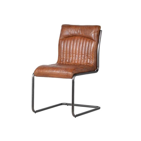 Vintage Brown Leather Metal Leg Chair