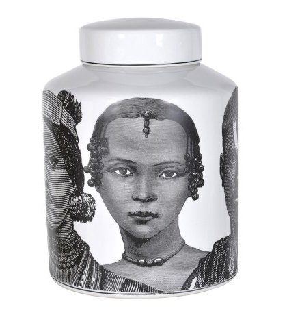 Decorative Faces Jar