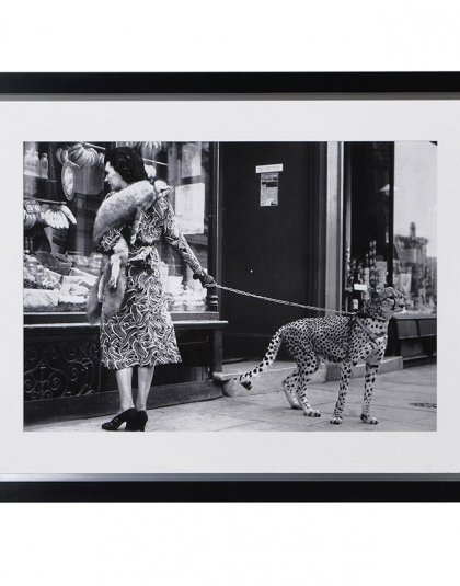 Lady with Leopard on Leash Print. Dimensions: H: 1020mm W: 1320mm