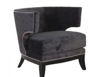 Black Studded Modern Armchair. Dimensions: H: 800mm W: 760mm D: 800mm