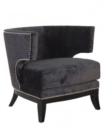 Black Studded Modern Armchair. Dimensions: H: 800mm W: 760mm D: 800mm