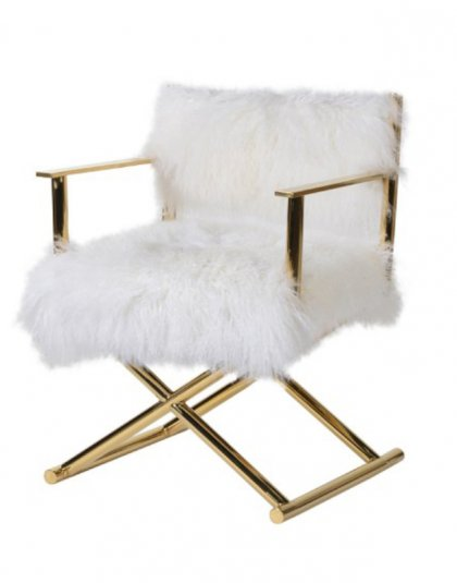 White Mongolian Fur Chair, This product is made of real Mongolian sheep fur. Dimensions: H: 810mm W: 590mm D: 510mm
