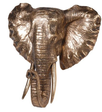 Golden Elephant Head Wall Mount. Dimensions: H: 420mm W: 400mm D: 230mm