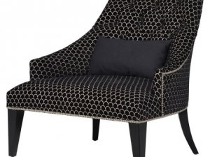 Black Pattern Lounge Chair with Knocker. Dimensions: H: 860mm W: 880mm D: 850mm