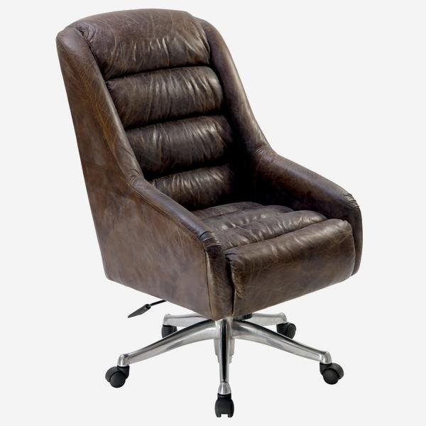 Rainier is an enticingly comfortable, adjustable height, a leather desk chair with a chrome swivel base set on casters. Height: 107 Width: 63 Depth:76