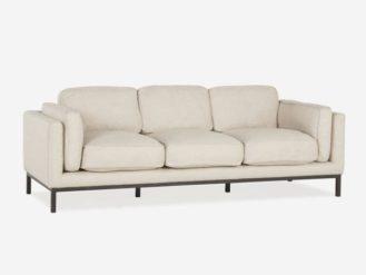 The Vox Sofa is a modern and fresh mid-century style sofa. It's upholstered in an oatmeal herringbone linen blend on matt black metal legs.