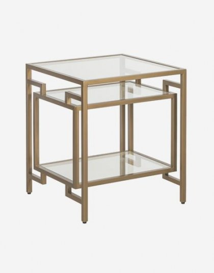 The Architect Side Table has its own Deco style with a burnished gold frame and glass shelves. Product Height: 59.5 Product Width:46.5 Product Depth:46.5