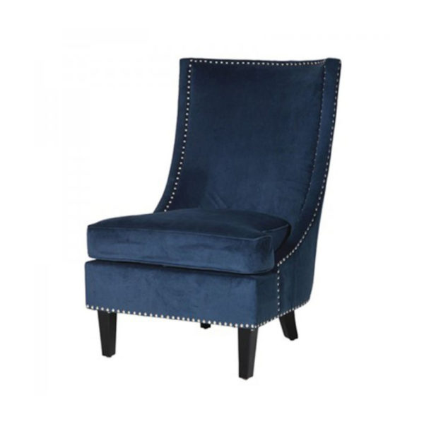 Blue Slipper Chair with silver studs.
