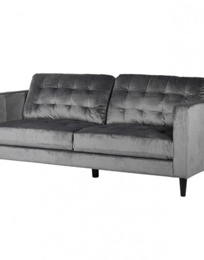 Black Velvet Studded Sofa Den Living
