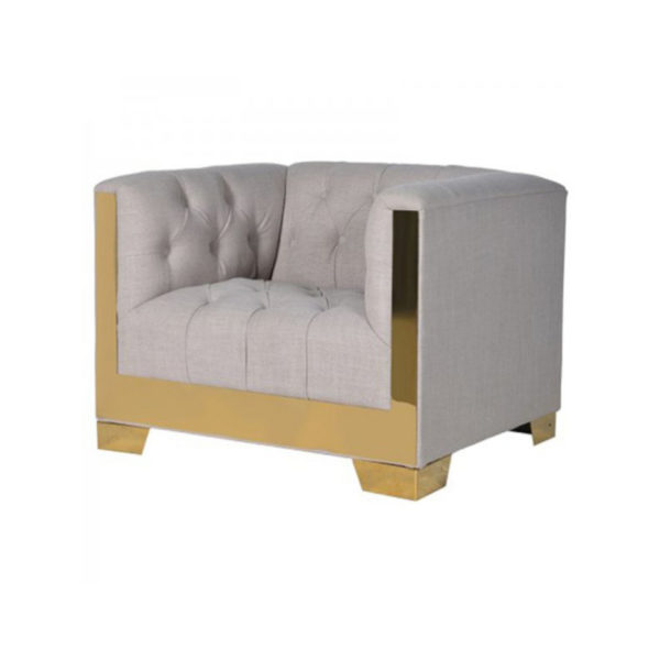 Gold-Finish Linen Armchair.Dimensions: H: 720mm W: 1000mm D: 850mm