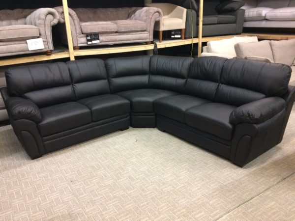 Portland Black Luxury Leather Large Corner Sofa Group RRP £2079