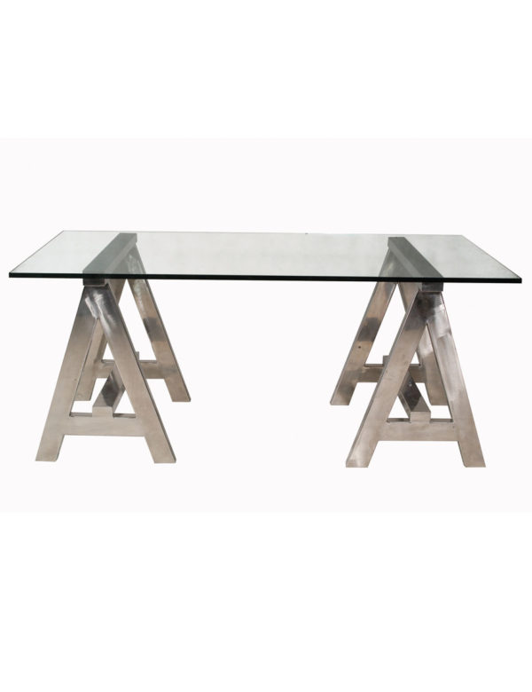 The A-Frame Desk is a clear, glass top desk with a striking polished steel A-frame. The strong, geometric legs take centre stage in this design.