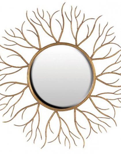 Elegant Gold Twigs Round Mirror. This mirror is Perfect in almost every setting, with its sleek look and clean design. Dimensions: Dia: 1100mm.