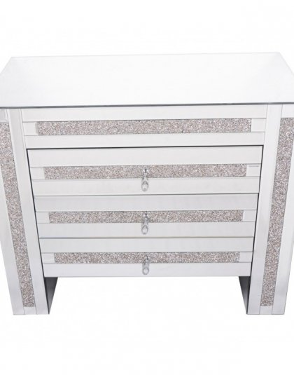 The Mirrored Glass Three Drawer Chest is a great example of beautiful design. With a sleek glass top this piece is just perfect for the bedroom.