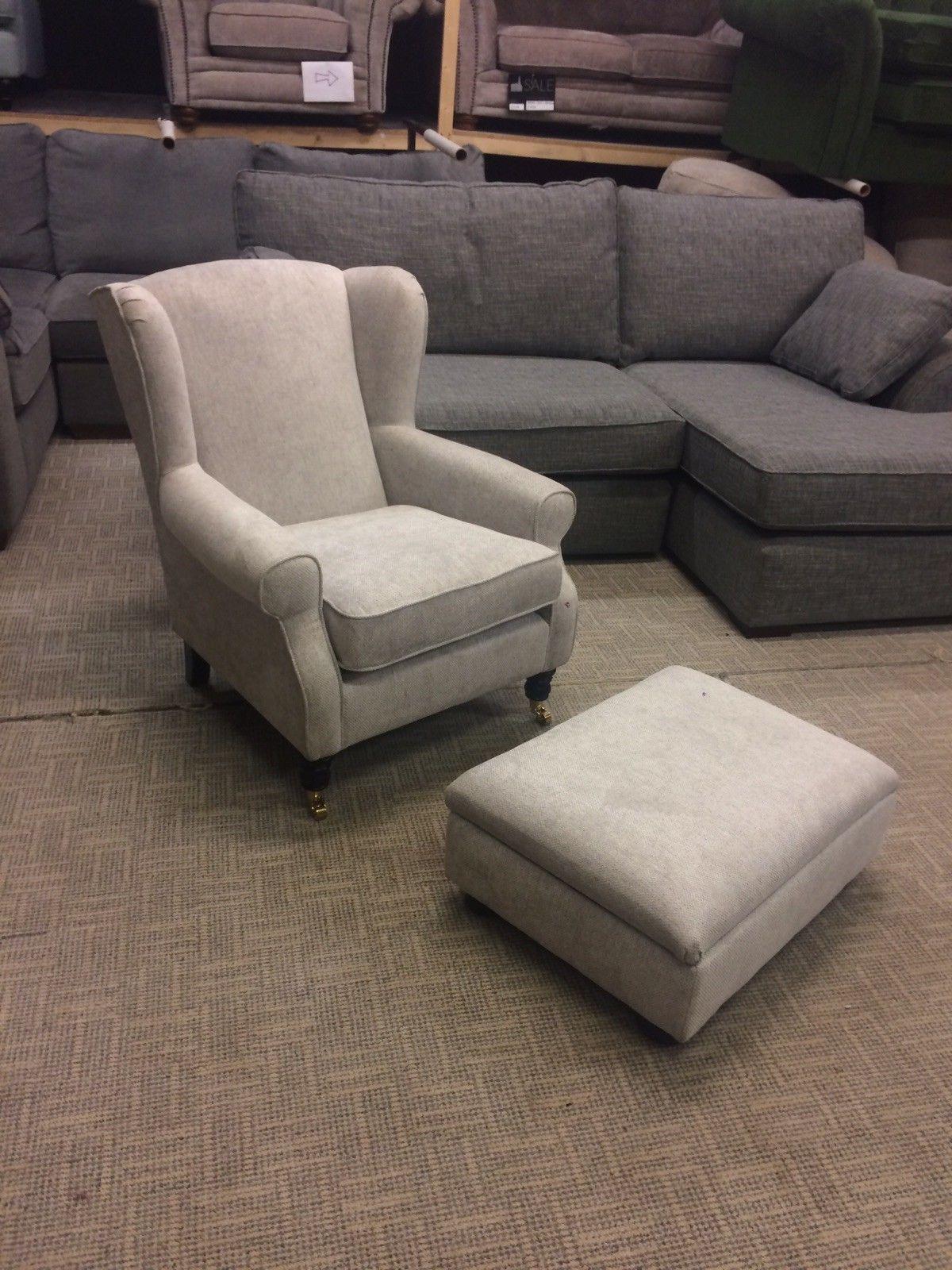 Sherlock Glamour Weave Silver Fabric Petite Armchair Footstool Rrp 750