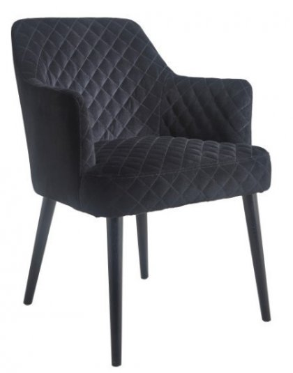 This beautiful Kirk black velvet Chair with diamond stitching will add a little sophistication in just the right place when put in any interior chapter.
