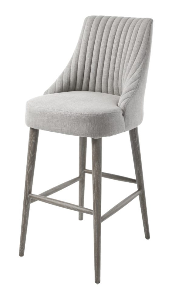 The Halwell chair now has a matching, comfortable barstool. In the same grey linen mix fabric.Perfect for any home bar with a sleek interior.
