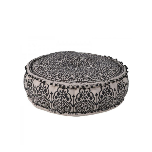 This unique Black Embroidered Pouf with Pompoms sits perfectly in almost any setting..Product Information: Dimensions: H: 230mm Dia: 580mm