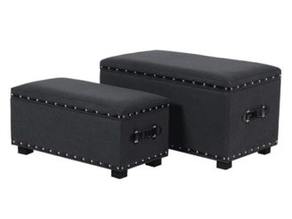 This Set of 2 Dark Grey Felt Ottoman are just perfect for extra storage for that bedroom set. Upholstered in a dark Grey Felt with Silver Studding Detail.