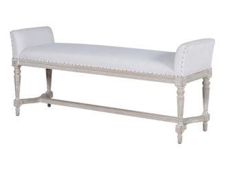 This Distressed White Bench is almost perfect for any setting.The piece comes upholstered in a white vinyl with Black Studding. H: 590mm W: 1350mm D: 400mm.