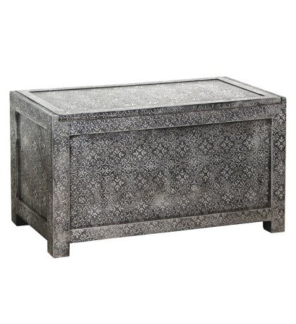 The Antique Silver Embossed Blanket Box is A spectacular piece that uses the contrasting tones of black and silver to make this eye-catching design.