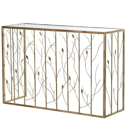 The Gold Leaves Detail Console Table is a pure example of elegant design.This piece really adds a sense of nature to your hallway.