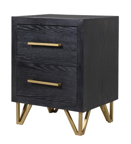 This Black and Gold 2 Drawer Bedside Table is the perfect addition to the Bedroom set. Product Information: H: 630mm W: 480mm D: 400mm