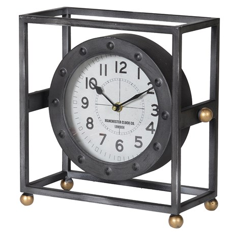 This Metal Frame Mantle Clock is just perfect for that already set up industrial setting. Product Information: Dimensions: H: 270mm W: 250mm D: 120mm