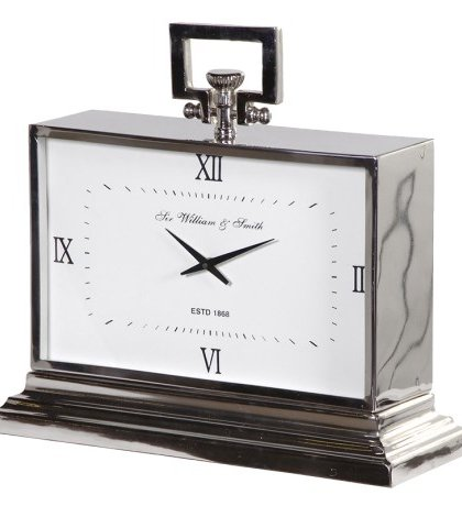 This Nickel Mantel Clock has the real classic Art Deco design. Product Information: Dimensions: H: 440mm W: 470mm D: 180mm.