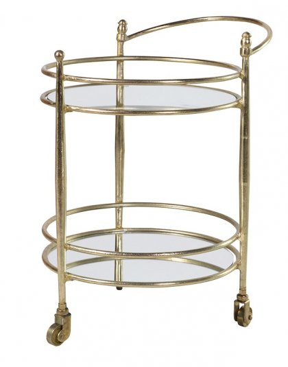 Spice up your dining room or living room with our Glass & Brass Bar Trolley. Perfect for the dining room. Dimensions: H: 665mm W: 570mm D: 450mm