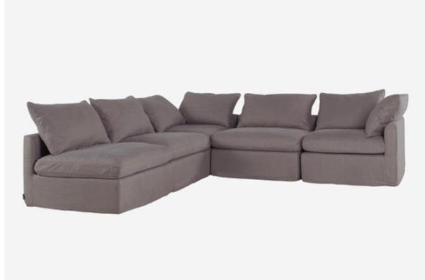 The Fala Corner Sofa is a large piece perfect for that living room setting. The piece comes upholstered in a grey herringbone.