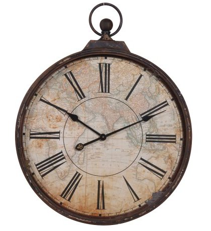 This Vintage Brown Map Clock is a great addition to that vintage interior. The clock comes in a distressed brown finish. Dimensions: H: 740mm Dia: 600mm
