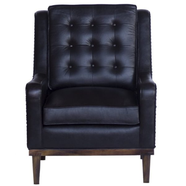 The Raymond Modern Black Leather Arm Chair is a sleek piece that will fit perfectly in any living style setting. Height 98cm, Length 72cm, Width 85cm.